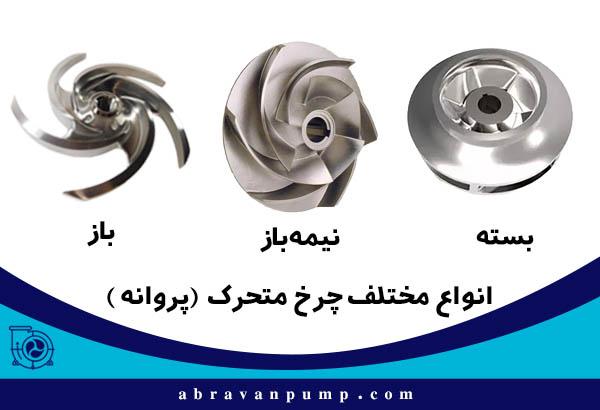 انواع مختلف چرخ متحرک یا پروانه پمپ