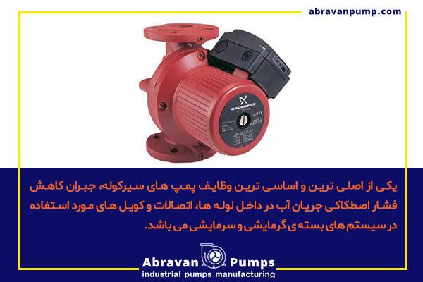 کاربرد اصلی پمپ سیرکوله در سیستم های سرمایشی و گرمایشی است.